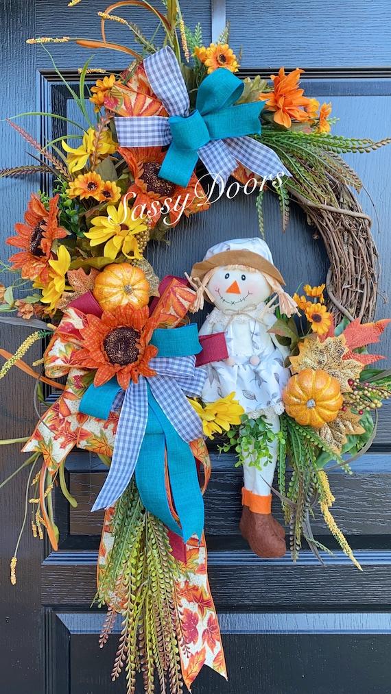 Scarecrow Fall Wreath , Fall Wreath Sunflower, Wreath, Fall Scarecrow Wreath, Pumpkin Wreath, Fall Sunflower Wreath,  Sassy Doors Wreath,