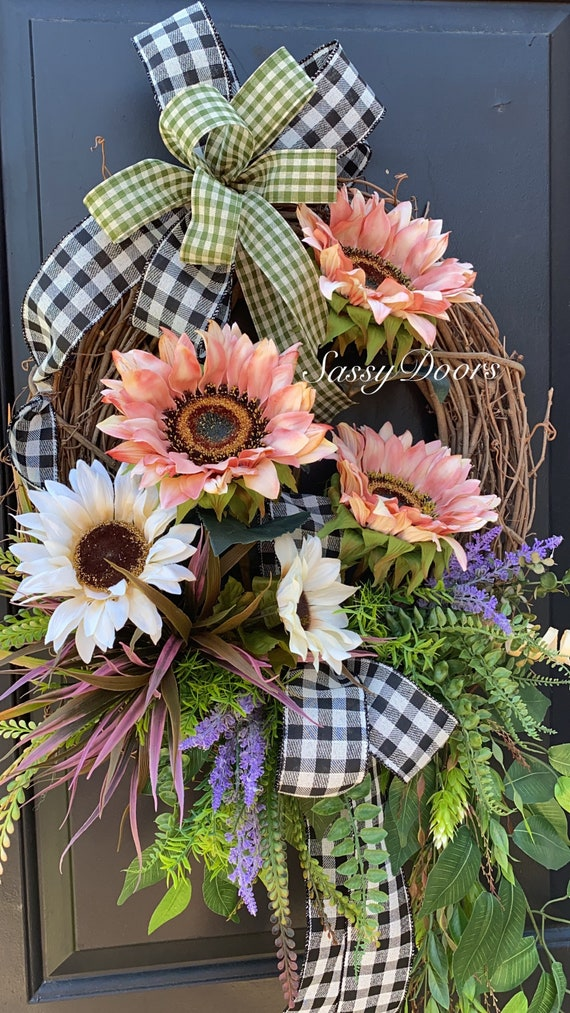 Coastal Wreath, Sunflower Coastal Wreath,  Front Door Wreath- Sunflower Door Wreath- Sassy Doors Wreath- Summer Door Wreaths