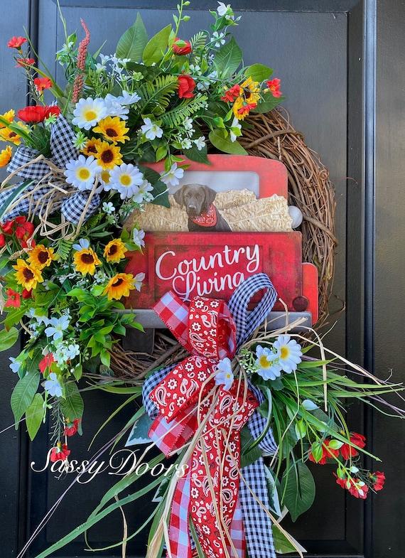 Farmhouse Wreath- Red Truck Wreaths, Wreath For Front Door- Vintage Truck Wreath , Everyday Wreath- Wreath, Dog Wreath