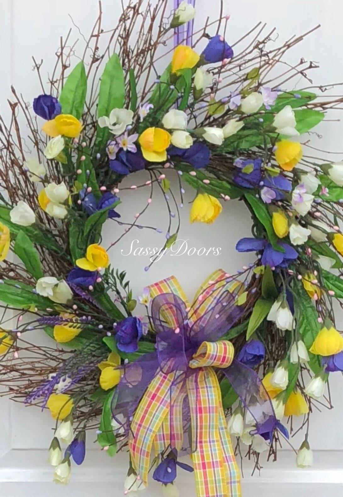Spring Wreath Spring Grapevine Wreath Summer Wreath Spring