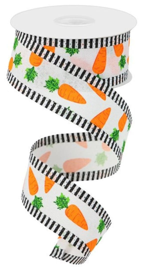 """Easter Carrot Ribbon, 1 1/2""""  Wired, 10 Yard Roll,  Easter Craft Ribbon, Carrot Ribbon"""