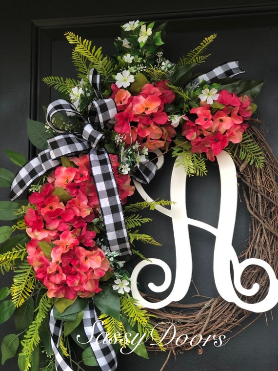 Summer Monogram Wreath, Front Door Wreath, Monogram Wreath, Grapevine wreath, Monogram Wreath For Front Door, Everyday Wreath
