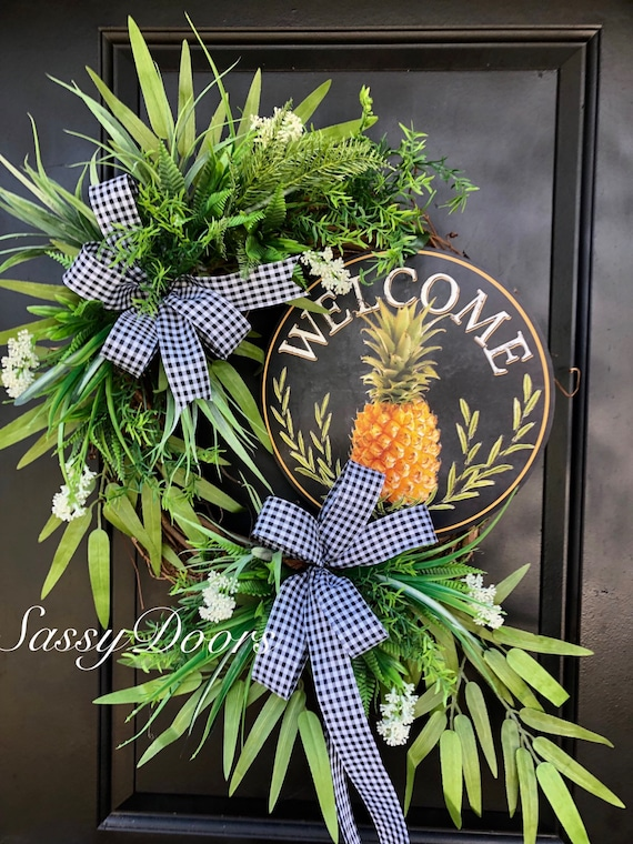 Summer Wreath- Pineapple Wreath -SassyDoors Wreath, Grapevine Wreath, Front Door Wreath, Beach Wreath