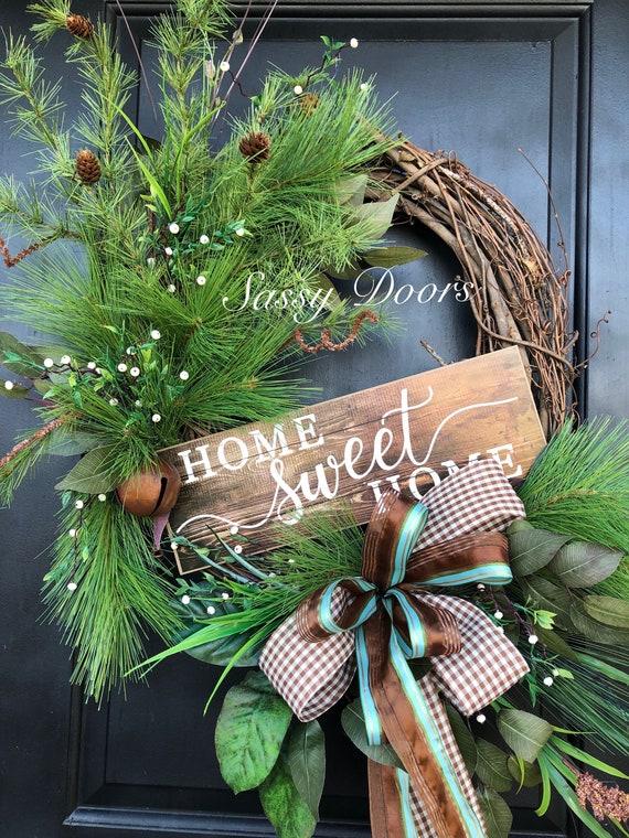Winter Wreath, Home Sweet Home Wreath, Winter Pine Wreath, Pinecone Wreath, Sassy Doors Wreath