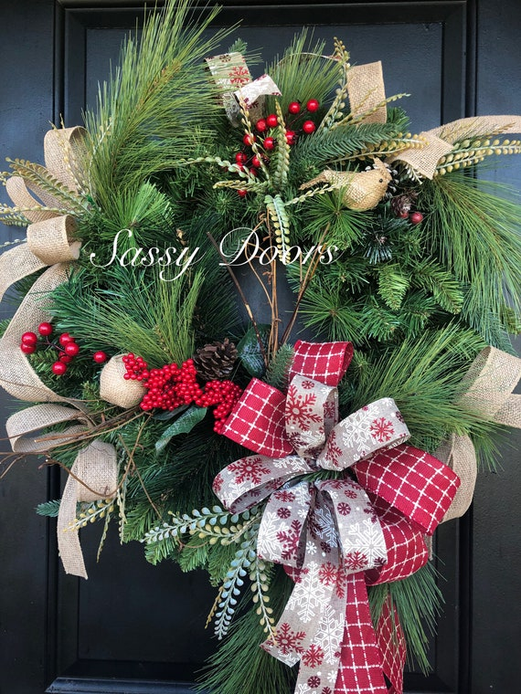 Winter Farmhouse Wreath- Winter Wreath For Front Door- Rustic Winter Wreath, Cotton Wreaths
