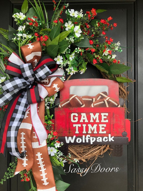 NC State Sports Wreath- Wolfpack College Wreath- NC State -College Front Door Wreath