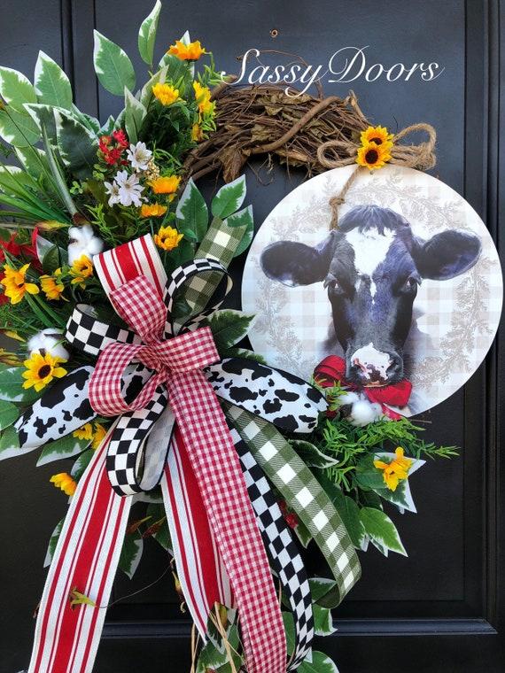 Farmhouse Wreath- Wreath For Front Door- Wreath With Cow , Everyday Wreath- Farm Wreath