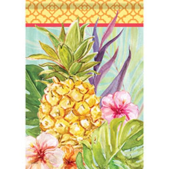 Watercolor Pineapple Summer Flag, Flag, Garden Flag, Tropical  Flag  Carson Flag, Welcome Flag, Garden Flag-