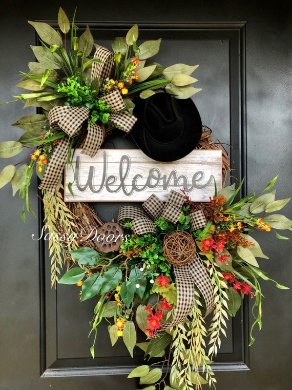 Cowboy Wreath - Western Wreath -Ranch Life Wreath -Cowboy Hat Wreath - Ranch Wreath, SassyDoors Wreath