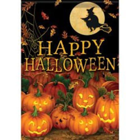 Halloween Garden Flag- Happy Halloween Flag-  Pumpkin Flag, Garden Accent, Fall Flag,