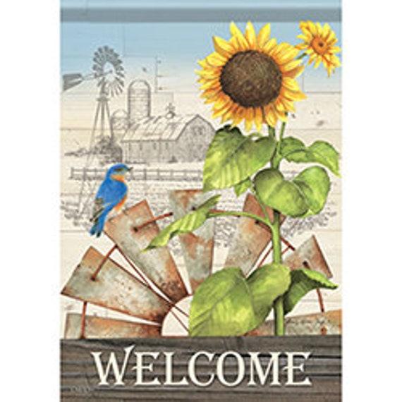 Sunflower Flag, Welcome Flag, Garden Flag, Carson Flag, Garden Flag