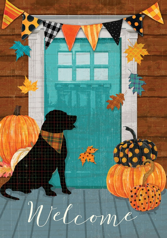 Front Porch Fall Flag, Dog Flag, Fall Pumpkin Flag, Garden Flag, Fall Garden Flag, Custom Decor flag, Sassy Doors