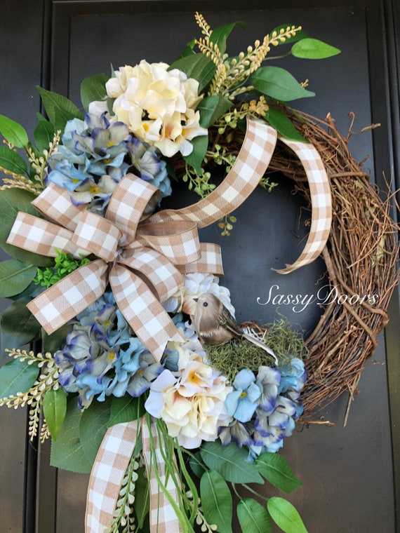 Everyday Wreath-Hydrangea Wreath- SassyDoors Wreath- Bird Wreath, Wreath for Front Door