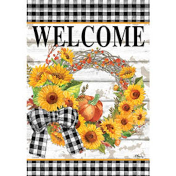 Sunflower Wreath Garden Flag, Fall Wreath Garden Flag-