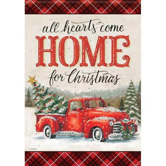 Red Truck Christmas Garden Flag- Christmas Flag- Red Truck Flag- Farmhouse Garden Flag- Christmas