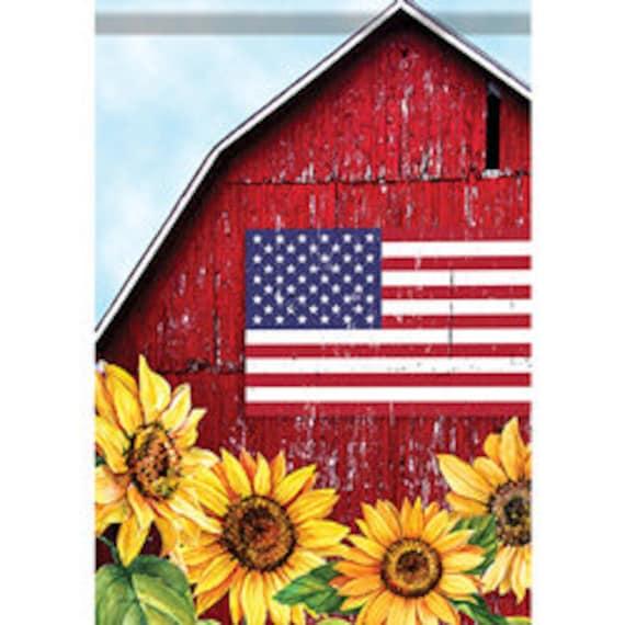 Patriotic Barn Garden Flag,  Farmhouse Garden Flag, Americana Garden Flag