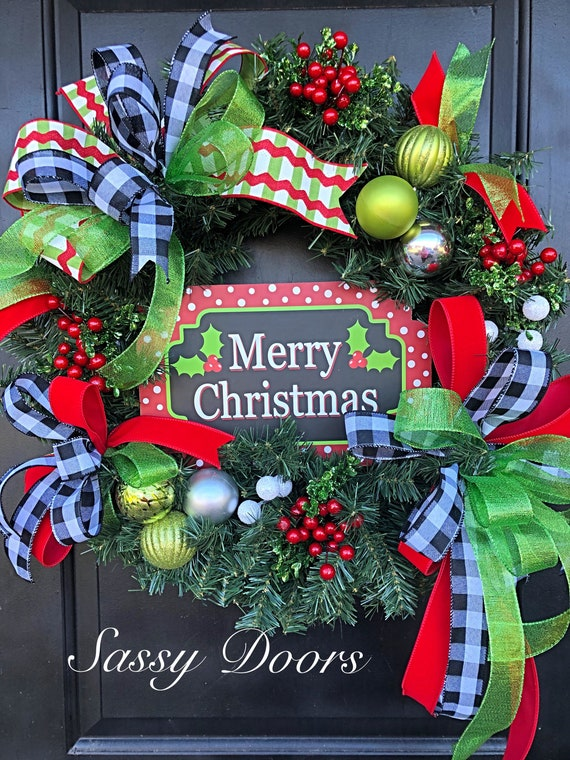 Christmas Wreath, Rustic Christmas Wreath, Traditional Christmas Wreath, Christmas Front Door Wreath, Sassy Doors Wreath