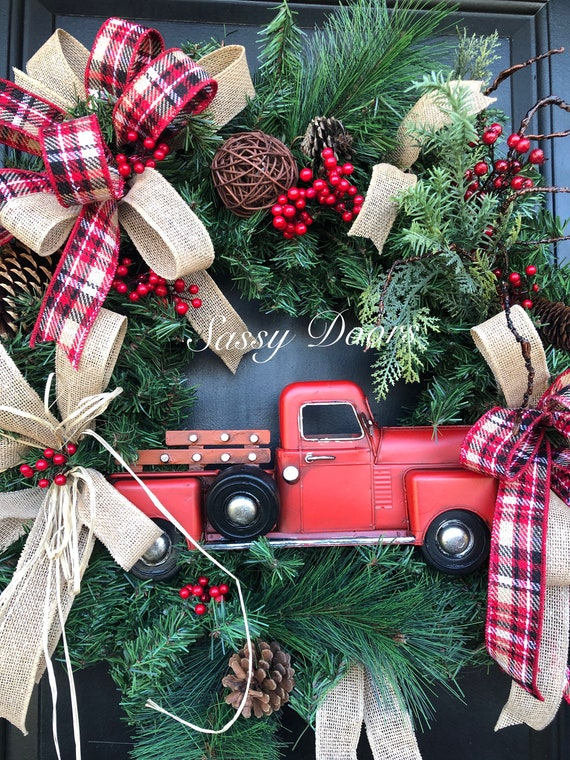Red Truck Wreath, Buffalo Plaid Wreath, Red Truck Christmas Wreath, Rustic Christmas Wreath, Woodland Christmas Wreath, Sassy Doors Wreath,