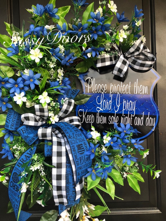 Police Officers Wreath, Support The Blue, Public Servant Wreath, Thin Blue Line,  Law Enforcement Wreath , Sassy Doors Wreath