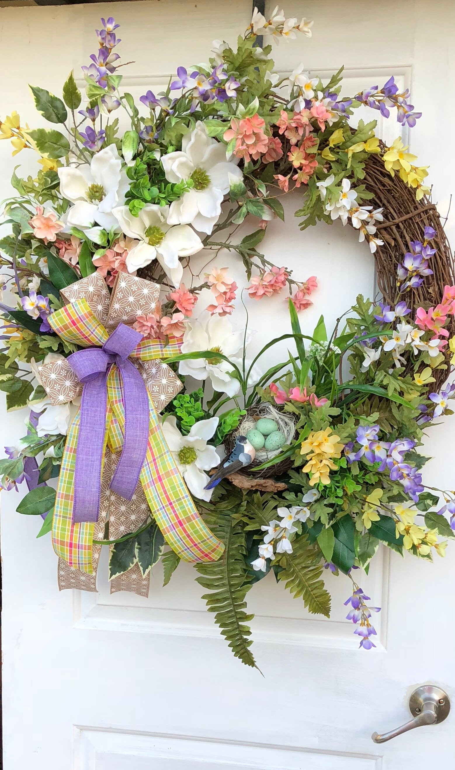 Spring Wreath, Grapevine Wreath, Magnolia Wreath, Sassy Doors Wreath,Spring Front  Door Wreath, Summer Wreaths