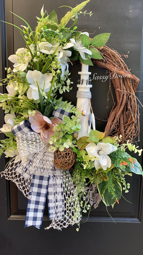 Coastal Wreath, Lighthouse Wreath Grapevine Wreath, Wreath For Front Door,  Beach Wreath, Summer Wreath, Sassy Doors Wreath,