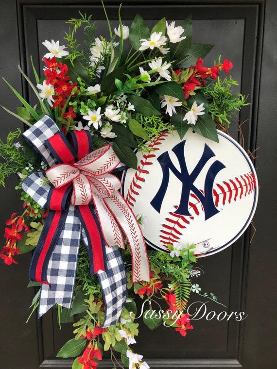 Baseball Wreath, Sports Wreath, NY Team Sports, Yankees Baseball Gift Idea,