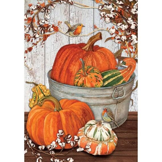 Fall Flag, Pumpkin Flag, Fall Garden Flag, Pumpkins In Bucket  Flag, Garden Flag, Sassy Doors