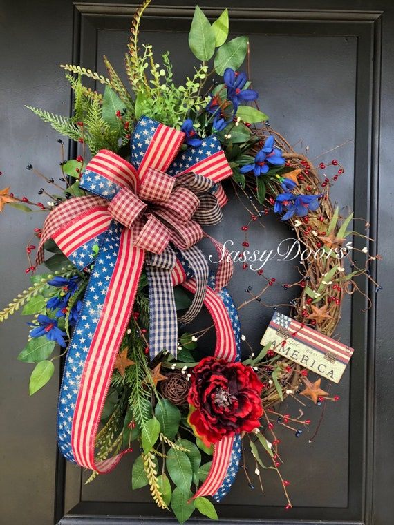 Americana Wreath, Patriotic Wreath, Sassy Doors Wreath, Primitive Wreath, July4th Wreath, Memorial Day  Wreath, Tea Stain Flag Wreath