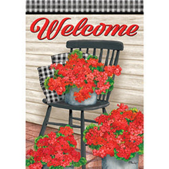 Front Porch Chair With Geraniums, Summer Garden Flag, Geraniums Flag, Summer Garden Flag