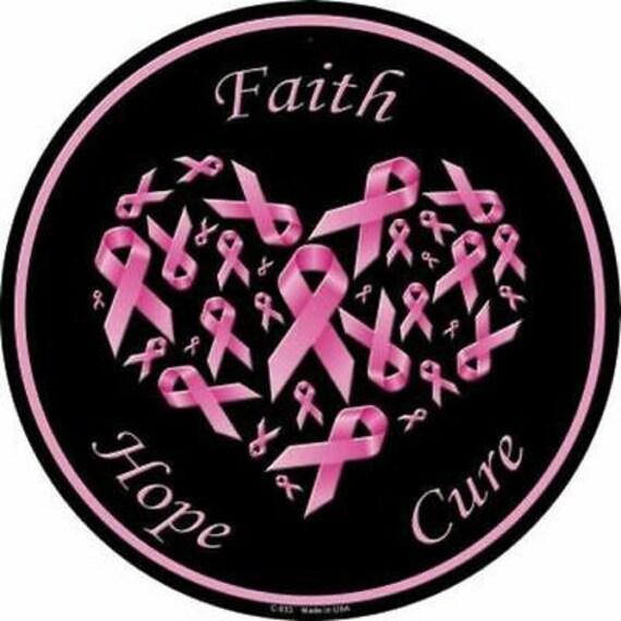 Metal Sign, Breast Cancer Awareness Sign, Pink Ribbon Metal Sign, Wreath Sign