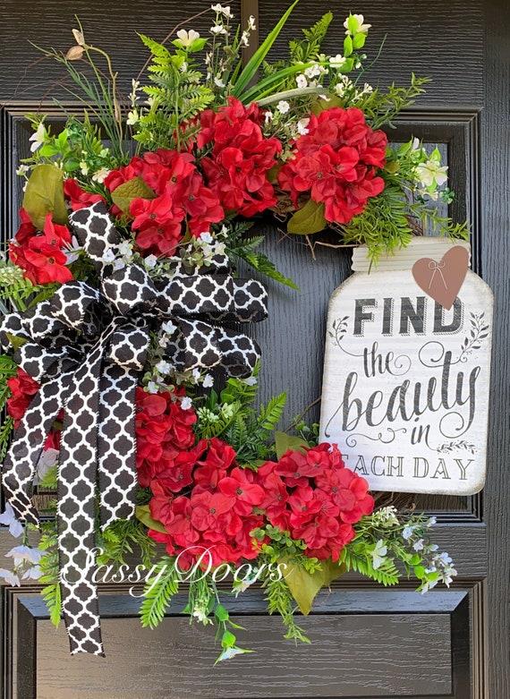 Hydrangea Wreath, Everyday Wreath, Red Hydrangeas Wreath, Farmhouse Wreath For Front Door, SassyDoors Wreath