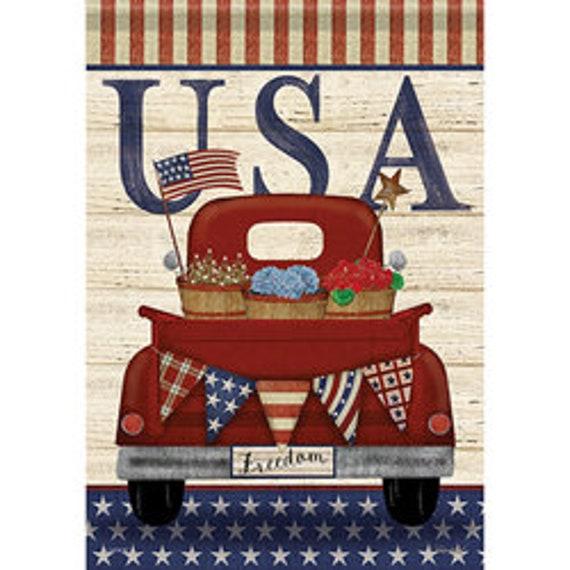 Red Truck Patriotic House Flag, Patriotic Flag, Summer Flag, House Flag, July 4th Flag,
