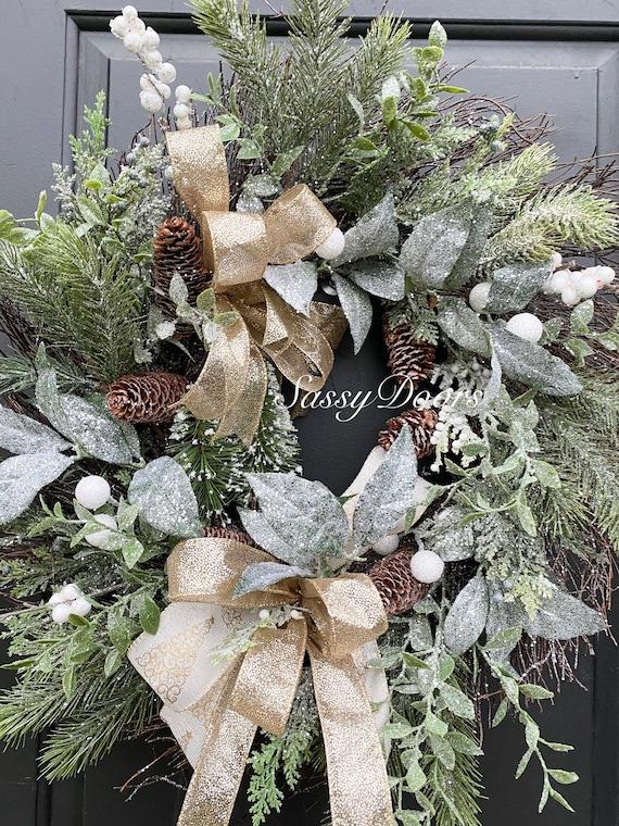 Christmas Wreath, Twig Wreath, Winter Wreath, Snowball Wreath