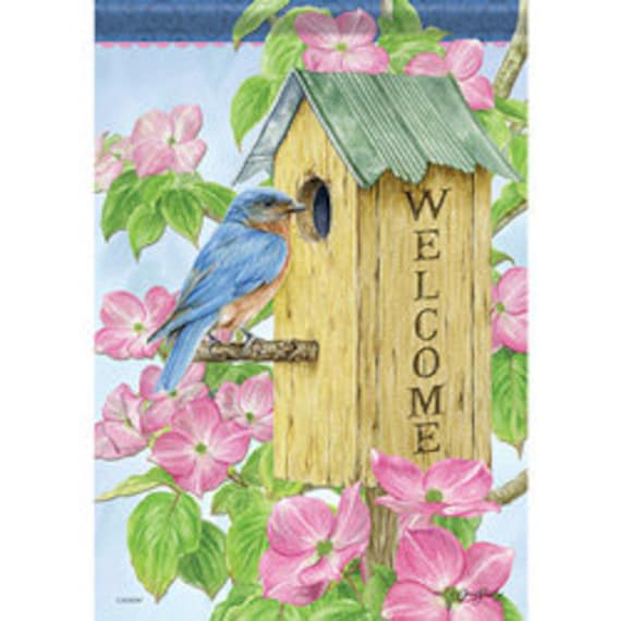 Birdhouse House Flag, Flag With Bird, Welcome Flag, House Flag, Carson Flag,