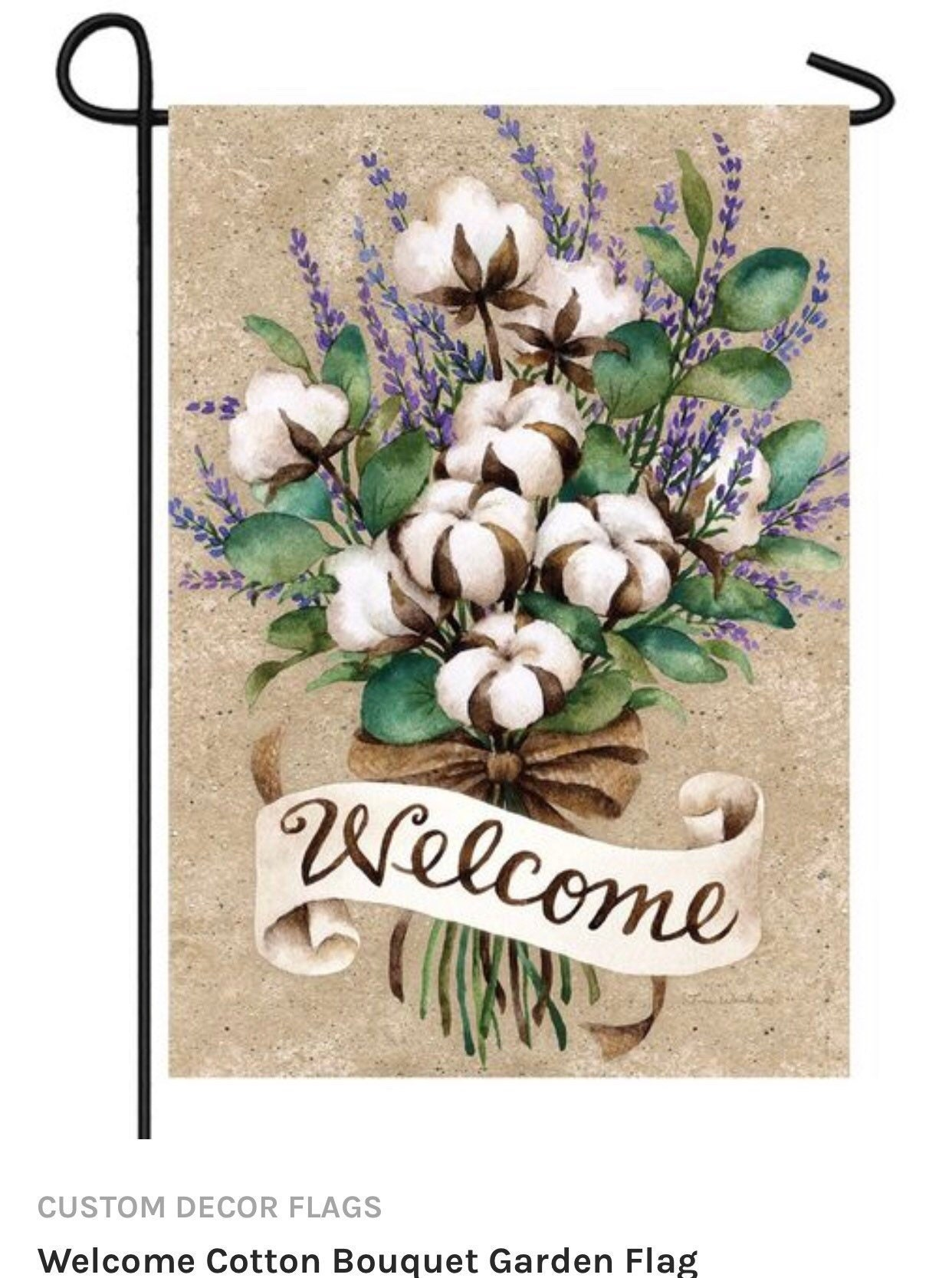 Cotton Welcome Garden Flag, Flag With Cotton  Custom