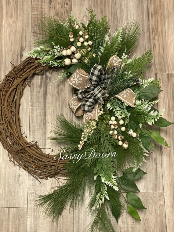 Woodland Winter Wreath, Front Door Winter Wreath, Winter Wreath