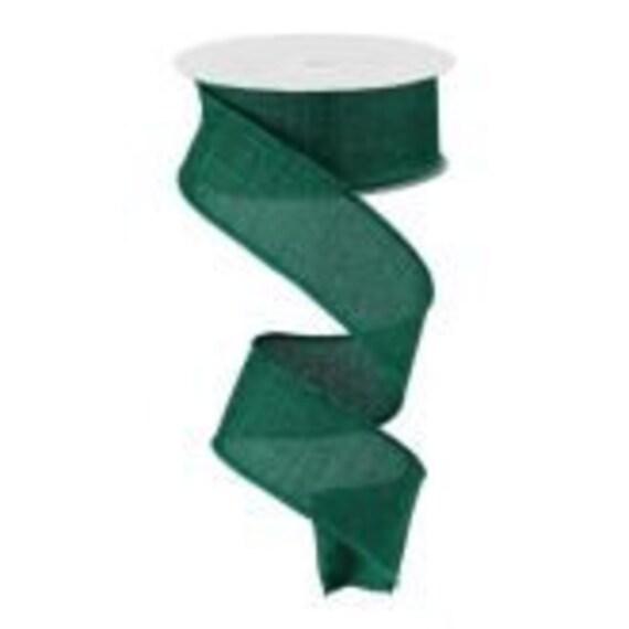 Emerald  Wired Ribbon, Faux Burlap 1 1/2 Inch Ribbon, 1.5 inch Ribbon