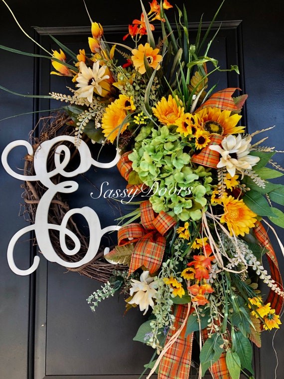 Fall Monogram Wreath, Fall Wreath, Hydrangea Wreath, Front Door Wreath, Thanksgiving Wreath, Fall Grapevine Wreath