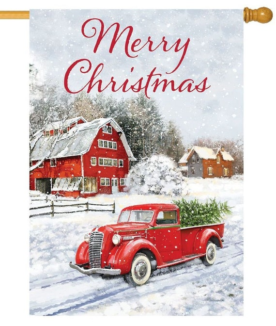 Red Barn Christmas House  Flag- Christmas Flag- Red Truck Flag- Farmhouse House Flag- Christmas