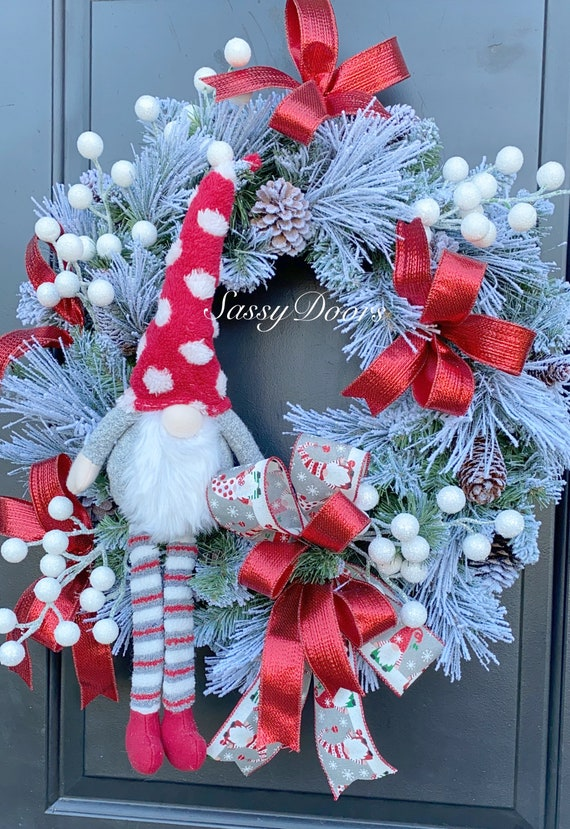 Gnome Christmas Wreath, Christmas Wreath, Whimsical Christmas Wreath, Sassy Doors Wreath