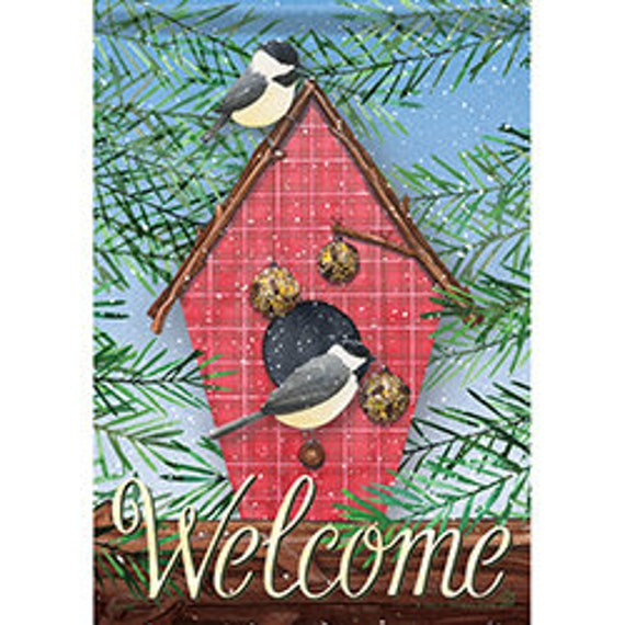 Bird House Winter Flag, Garden Flag, Bird House  Winter Garden Flag