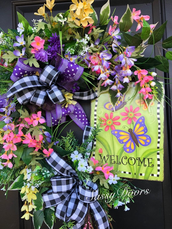 Spring And Summer Wreath, Grapevine Wreath, Wreath For Front Door, Sassy Doors Wreath,  Wreath With Purple