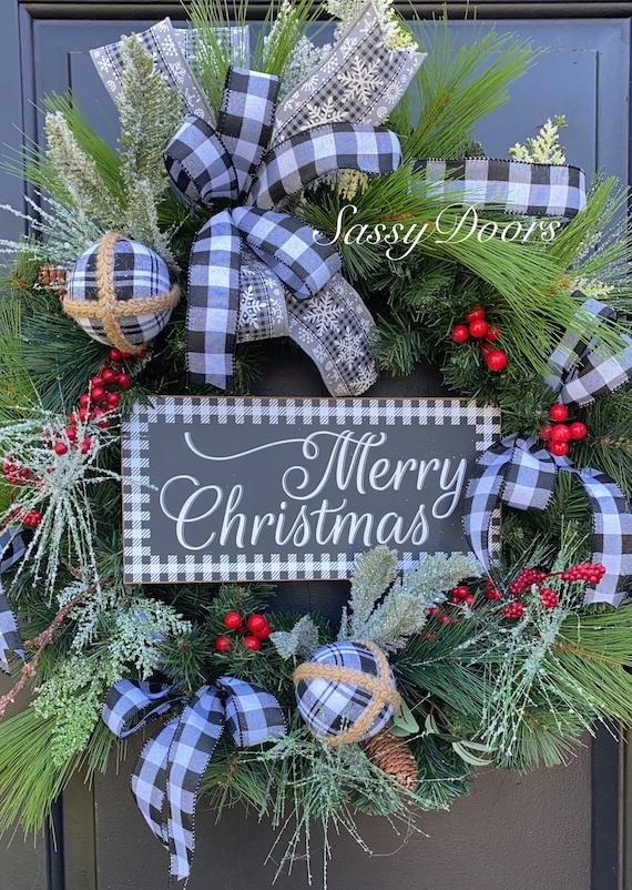 Christmas Wreath, Winter Snow Wreath,  Black And White Plaid Wreath, Front Door Wreath, Buffalo Plaid Wreaths, Sassy Doors