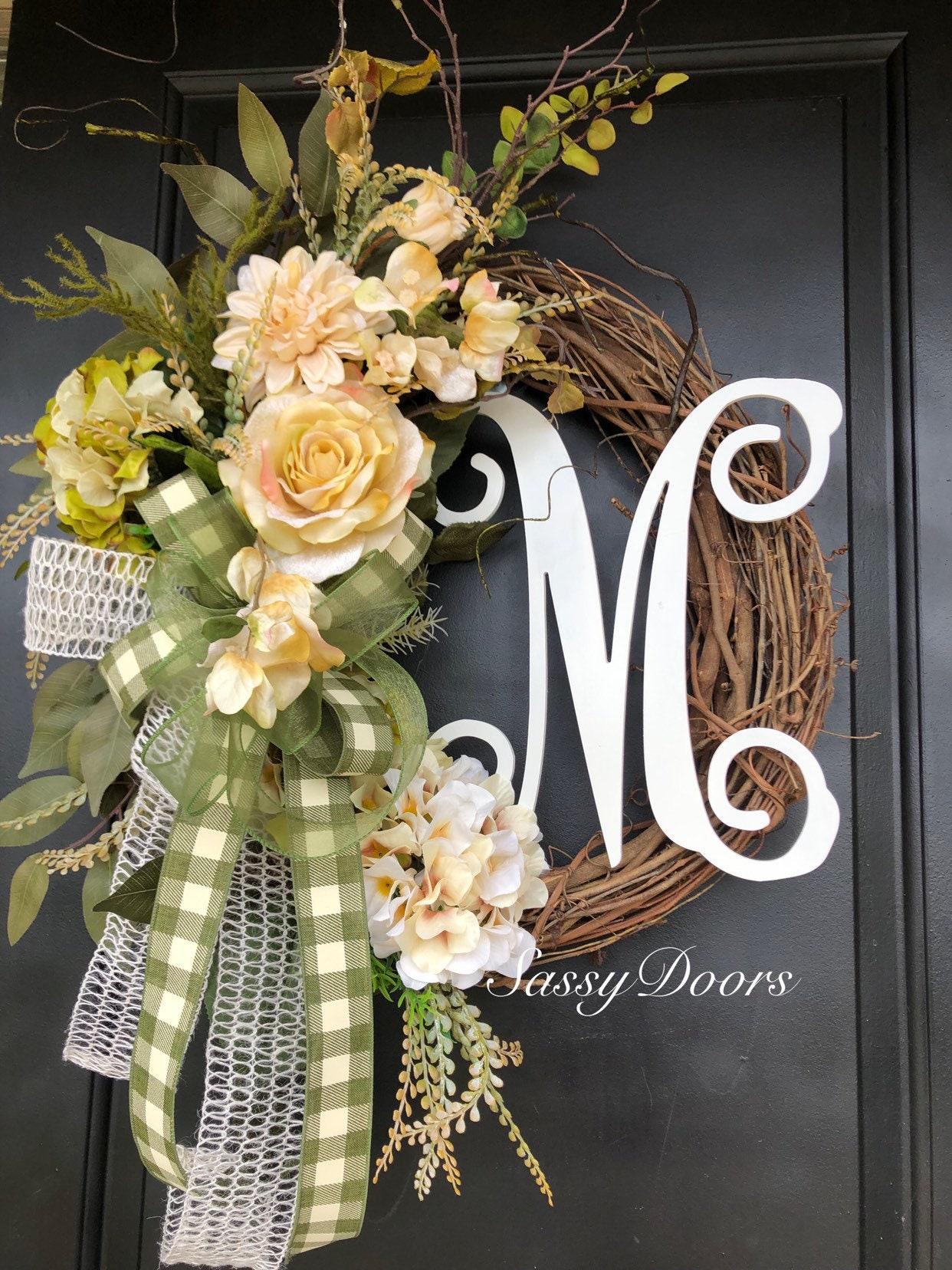Hydrangeas Wreath Everyday Monogram Wreath Monogram Wreath Sassy Doors Wreaths Hydrangea Wreath Wreath With Initial Fal