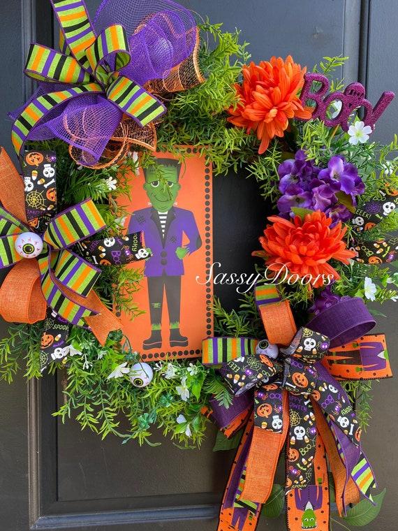 Halloween Wreaths, Frankenstein Wreath, Halloween Front Door Wreath, Sassy Doors Wreaths