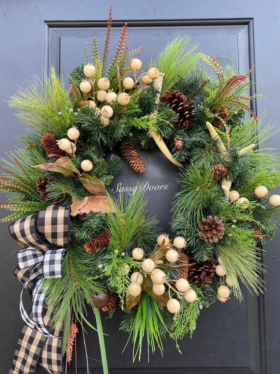 Deer Wreath, Winter Wreath, Winter Deer Wreath, Evergreen Wreath, Front Door Winter Wreath, Guy Friendly Wreath, Woodland Wreath,