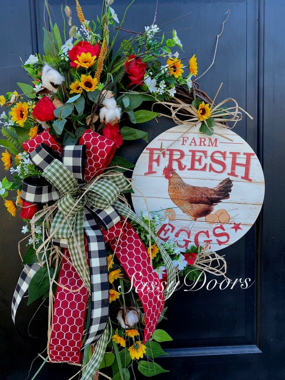 Farmhouse Wreath- Wreath For Front Door- Wreath With  Hen , Everyday Wreath- Farm Wreath  Animals, Cotton wreath