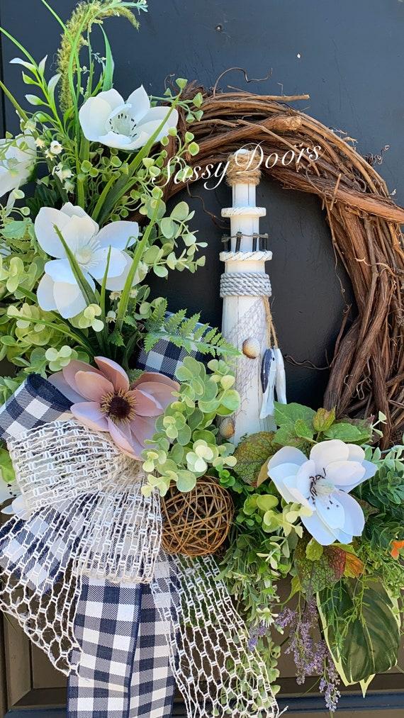 Coastal Wreath, Lighthouse Wreath Grapevine Wreath, Wreath For Front Door,  Beach Wreath, Summer Wreath, Sassy Doors Wreath,