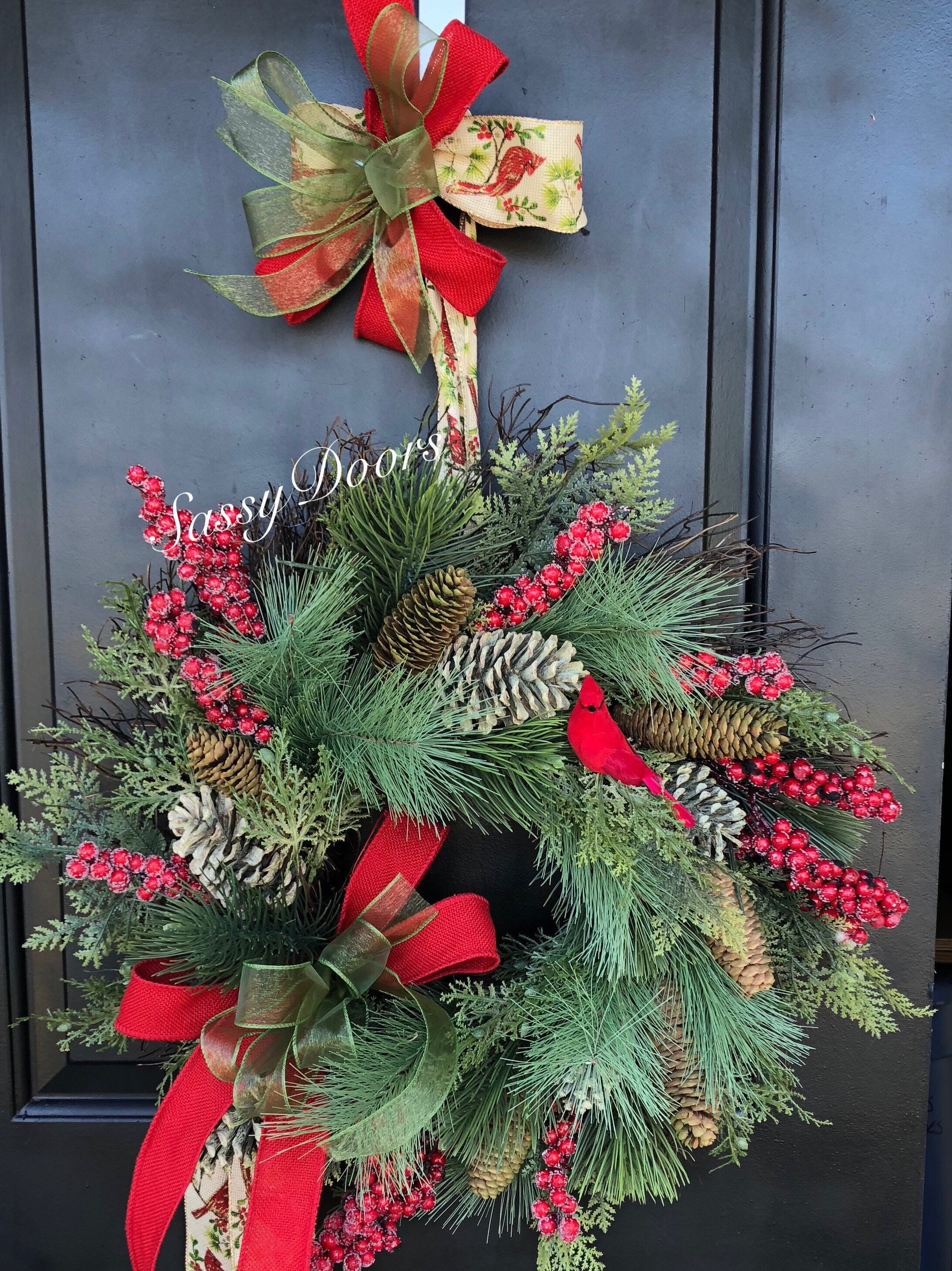 Red Cardinal Wreath Woodland Christmas Wreath Rustic