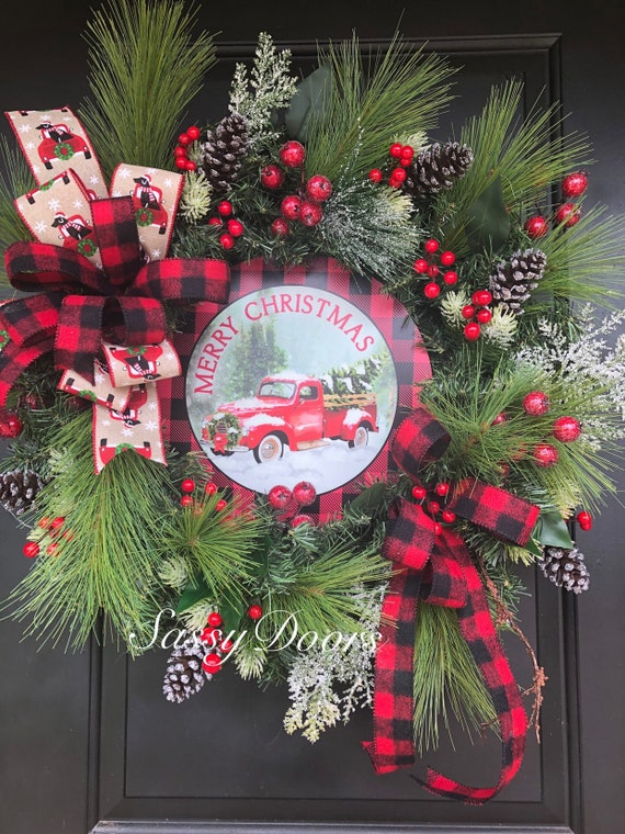 Red Truck Christmas Wreath, Free Shipping, Red Truck Wreath, Farmhouse Christmas Wreath,Christmas Front Door Wreath, Sassy Doors Wreaths, Sn